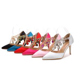 Wholesale 2016 new fashion female banquet wedding fine diamond thin high heels pointe toes women shoes