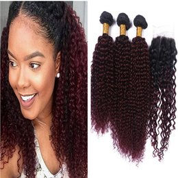 Hot Selling Wine Red #1B 99J Kinky Curly Hair Bundles With Lace Closure Burgundy Ombre Kinky Curly Hair With Closure 4Pcs Lot