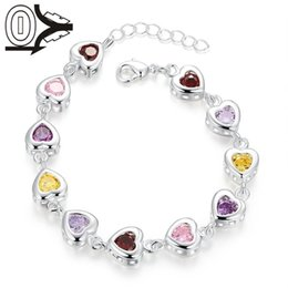 Wholesale Factory Price Hot Silver Plated Bracelet Wedding Jewelry Accessories Fashion Colorful Zircon Care Deeply Bracelets Bangle