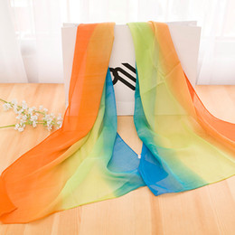 Popular hot sale women's spring summer rayon hand-painted rainbow gradient scarf shawls long scarf comfortable soft graceful lady scarf