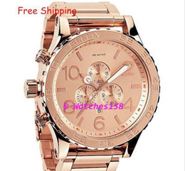 Free Shipping NX Men's A083-897 Quartz Watches THE 51-30 CHRONO ALL Rose Gold Dial Steel Band CHRONOGRAPH A083897