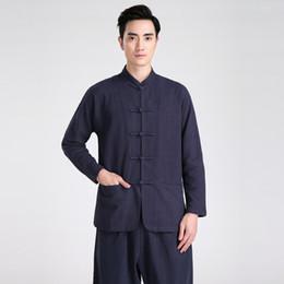 Shanghai Story Blend Linen Martial Arts mens chinese traditional clothing kungfu Shirt wushu Long sleeve chinese shirt 5 color