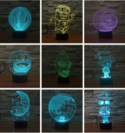Wholesale Mixing styles iron Man Colorful D visual light touch lamp LED lamp night light switch illusion USB Power Supply