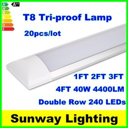 Wholesale Surface Mount Bright White Led - High Bright Surface Mounted LED Batten Tubes Lights Double row T8 LED tri-proof Lamps 2ft 20W 4ft 40W explosion led ceiling light AC110-240V