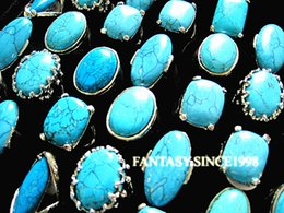 Brand New 25PCs Mixed Styles Women's Turquoise Metal Alloy Vintage Retro Jewelry Rings Wholesale Bulk Lots