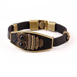 Wholesale High Quality Vintage Classic Animal Owl Black Leather Charm Bracelet Acrylic eyes Alloy Easy Hook Men Bracelets Accessories
