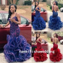 Wholesale Black Girl Mermaid Prom Dresses Arabic Dubai Sexy Backless Navy Blue Lace Red Party Evening Gowns Cheap Ruffles Long Sweet Pageant