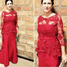 Elegant 2016 Red Lace And Satin Mother Of The Bride Dresses Cheap Illusion 3 4 Long Sleeves With Sash Peplum Formal Gowns EN6043