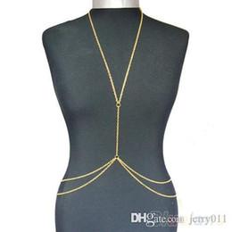 Las mujeres atractivas de oro en Línea-Oro de las mujeres atractivas de la manera del cuerpo del vientre de la cintura de la cadena Bikini Beach arnés collar 00AY
