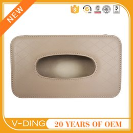 Wholesale v ding from China professional supplier of high quality automotive leather Visor hanging brown diamond embossed car tissue box