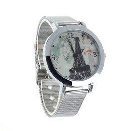 Wholesale horloge JECKSION artístico Torre Eiffel Cara de acero de plata banda de cuarzo reloj de pulsera horas vrouwen