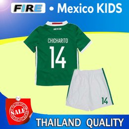 Wholesale 2016 Mexico Kids Soccer Jerseys Children youth boys Uniform blue Mexico Kids sets G Dos Santos Baby CHICHARITO kids kit football shirt