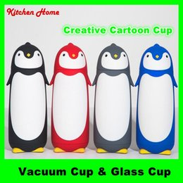 Hot Penguin Design 280ML Water Bottle Kids Gifts Kettle Cute Cartoon Vacuum & Glass Cups for Children Babies 2 Kinds Bottles