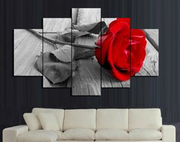 Free shipping rose flower 5 Panel canvas modern print painting on canvas Wall Art Home Decoration Living Room