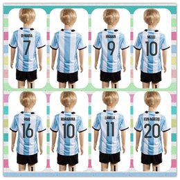 Wholesale New Uniforms Kit Youth Kids Copa America Jersey Argentina HIGUAIN DYBALA MESSI Soccer Jersey Blue white stripe Jerseys