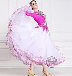2016 pink white dress black flower customize ballroom Waltz tango Quick step competition dress
