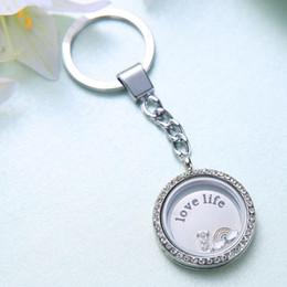 Compra Online Broches para los encantos-30mm corchete de la langosta de la forma redonda llavero medallón en forma para DIY de flotación encantos colgantes de la joyería anillo de claves