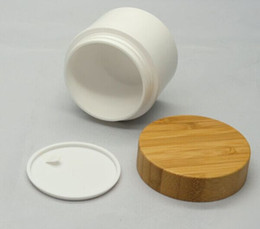 Free shipping 50g PP cream jar with bamboo lid, 50ml PP jars with bamboo cap cosmetic package