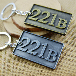 Wholesale Sherlock Movie Keychain B Key Chain Key Ring Holder Keyring Porte clef Gift Men Women Souvenirs MV061