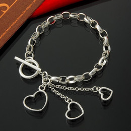 Factory direct wholesale 925 Sterling Silver TO three hanging heart Fashion Bracelet Sterling Silver Bracelet