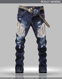 Wholesale Original Design Top Quality Punk Rock Nightclub DS DJ Dimensional cut Sequined wings Men s Slim Jeans beggar pants