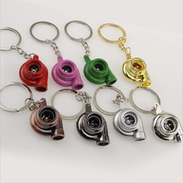 Wholesale Turbo KeyRing Keychains Personality Alloy Air Blower Key Ring Chain Turbine Turbocharger Sleeve Bearing for kid s gift