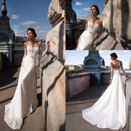 New Fashion Sexy Mermaid Long Sleeve Wedding Dresses Court Train Ivory Satin Appliques Lace Sheer Back Wedding Dress 2016 Beach Style