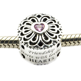Fits for Pandora Bracelet 100% 925 sterling silver beads Love & Friendship, Pink CZ DIY Hollow charms for women 1pc lot
