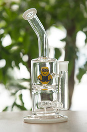 Glass Bongs Minions Shape Glasses Flared Mouthpiece Smokign Water Pipes Oil Rigs 18Female Joint Dab 11.4'' Tall Honeycomb Percolator Glass B