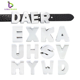 130pcs 8mm Silver plain Slide Letters fit bracelet Alplabet Charms for DIY Wristband Bracelet LSSL09