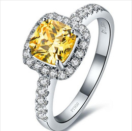 Wholesale 3 Karat Princess Cut Cushion Shape Yellow SONA Synthetic Diamond Engagement Ring A Ok Bridal Jewelry Gift White Gold Platinum