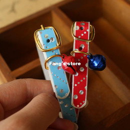 Cute mini pet collar dog collar Tactic cat jewelry PU high quality with little bell pattern 30pcs