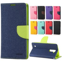 Wholesale Mercury Fancy Diary Wallet Flip PU Leather Case TPU Cover Stand For Samsung Galaxy J1 LG K10 HTC X9 Desire With Retail Package