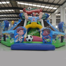 AOQI Big football fun city inflatable outdoor pvc playground inflatable play place kid bouncers for sale