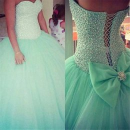 2019 Mint Green Sage Quinceanera Dresses Sweetheart Ball Gown Beads Pearls Bodice Princess Tulle Sweet 16 Birthday Prom Dress with Bow