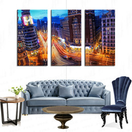 3 Picture Combination City Landscape Paintings Wall Art City Building Night Scene Picture Print on Canvas for Modern Living room Decoration
