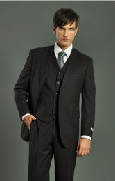 Cheap Handsome Black Groom Tuxedos Best Man Suit Notch Lapel Groomsman Men Wedding Suits Bridegroom(Jacket+Pants+Vest)