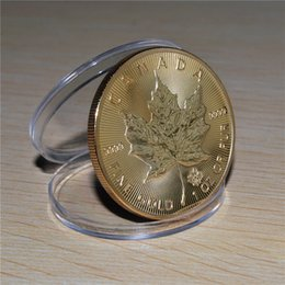 Wholesale Non Magnetic coin Canada Gold Maple Leaf coin oz BU brass plated gold coin Replica coin