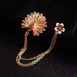 Peacock open - screen brooch retro tassel double - layer chain Xionghua suit multicolor diamond accessories women sweater jewelry