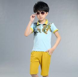 Wholesale sets Little Boy Maple Leaves Polo T shirt and Pants Outfit Summer Set school boy cm cotton sizes colors