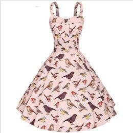 Wholesale New CFL Fashion Women s s Vintage Bird Print Rockabilly Swing Dress Summer Vintage Dress Party Dresses