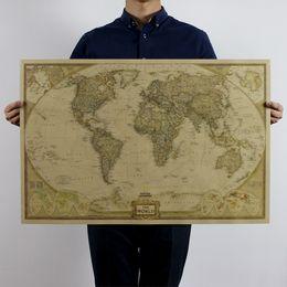 Wholesale Vintage Retro Matte Kraft Paper World Map Antique Poster Wall Sticker Paper Home Decora Decals for Walls
