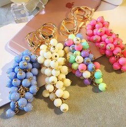 Wholesale Hot explosion models of creative gifts of candy jelly grape beads bag pendant Keychain Key Chain Ring