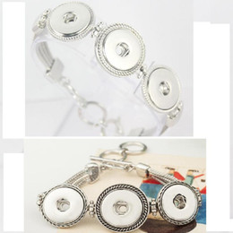 Wholesale Chunk Snap Bracelet - Hot Wholesale Snap Bracelet&Bangles Newest Design Antique Silver Plated Vintage Chain noosa chunks Bracelet 2 Styles Fit Snaps Jewelry