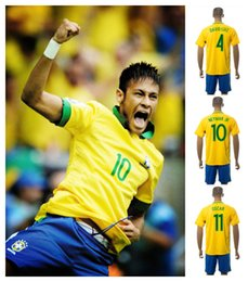 Wholesale 2016 Men s Brazil Soccer Jerseys NEYMAR JR OSCAR DAVID LUIZ High Quality Authentic Home And Away Wear