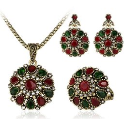 3 Piece Suit Turkish Jewelry Colorfull store Earrings And Necklace For Women Nigerian Wedding African Beads Jewelry Set Crystal