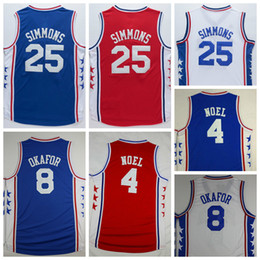 Wholesale 2016 Newest Ben Simmons Jersey Men Uniform Nerlens Noel Jahlil Okafor Shirt Rev New Material Home Road Away Red Blue White