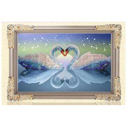Wholesale 5D DIY Diamond Painting Kits Round Rhinestone Draw Diamond embroidery Animals Swan Cross Stitch Kit Mosaic Picture Swans in Love