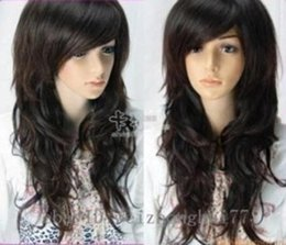 100% Brand New High Quality Fashion Picture full lace wigs>> fine long dark brown curly hair Wigs for women wig