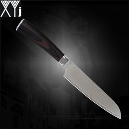 XYJ brand damascus knives 5 inch santoku knife good VG10 Japanese damascus steel kitchen knives color wood handle cooking tools